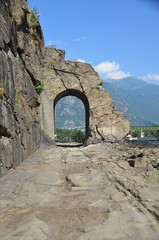 A stretch of the Via Delle Gallie, the Roman consular road that crossed the lower Aosta Valley into Gaul, Donnas, Italy
