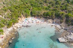 Sky blue waters at Villasimius Bay in Sardinia, Italy