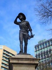 Adelaide. Victoria Square. The 1916 statue of Australian explorer Captain Charles Sturt peering into the distance. Sculptor was Adrian Jones..