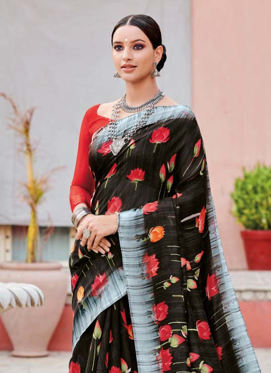 PRETTY CASUAL WEAR SOFT LINEN FABRIC SAREES COLLECTIONS FOR