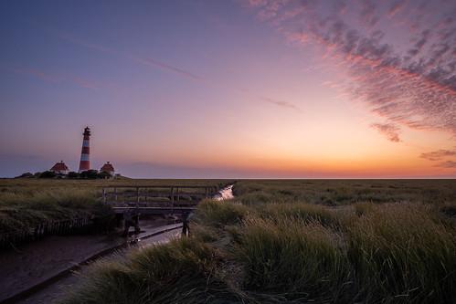 Leuchtturm Westerhever bei Sonnenuntergang