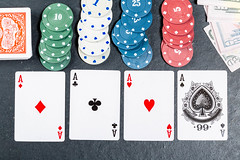 Set for playing poker on a black background