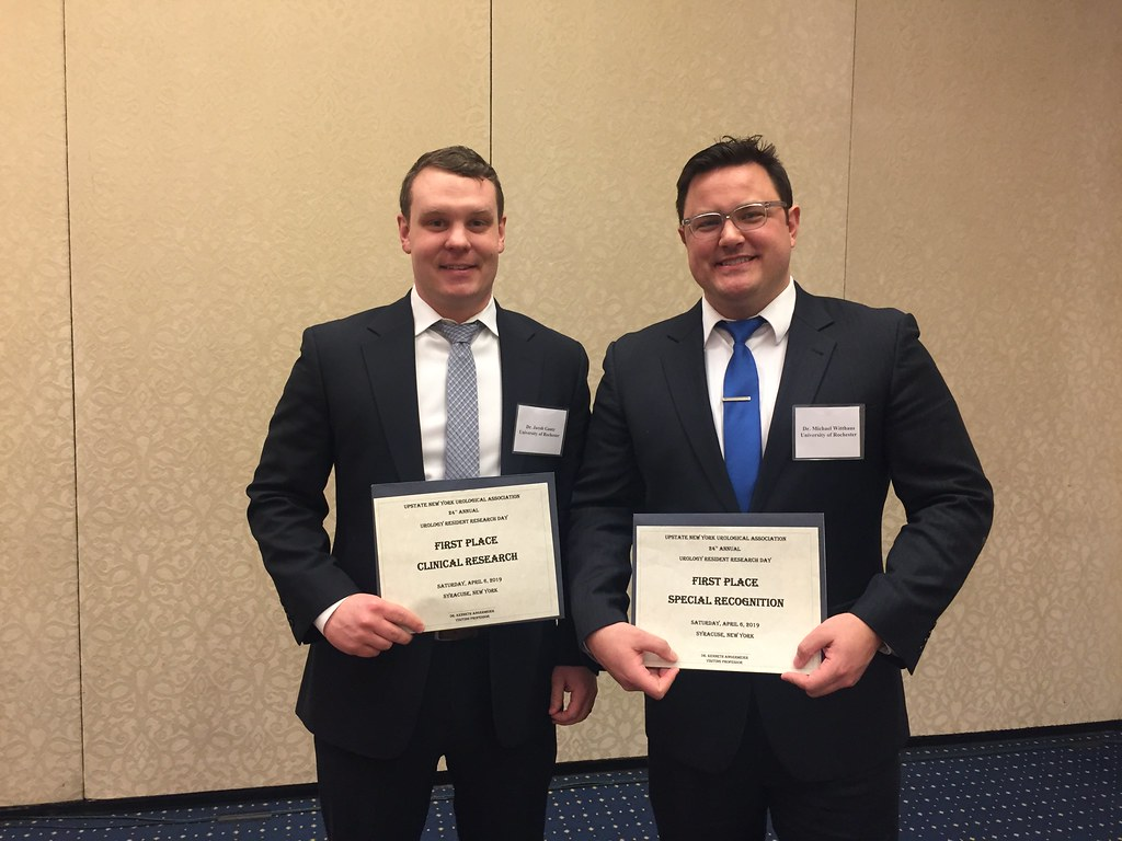 Jacob Gantz and Michael Witthaus with awards