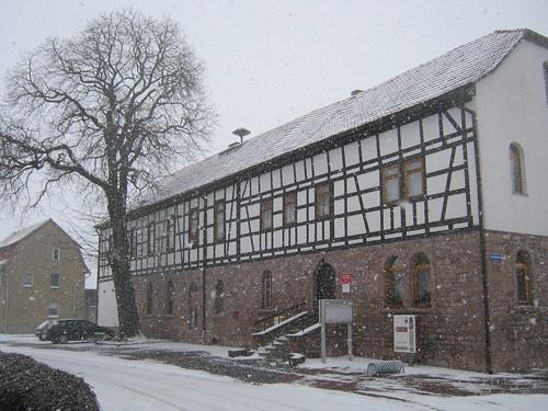 Esperstedt, Kyffh., Rat der Gemeinde im Schneesturm