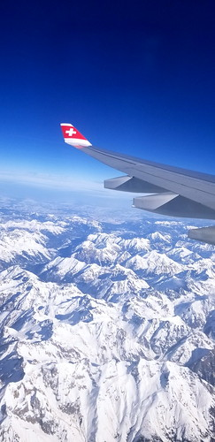 Departing Zurich and immediately flying over the wintry Alps