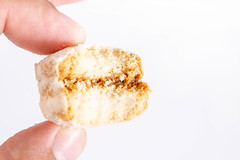Homemade cookies Vanilice with sugar in the hand