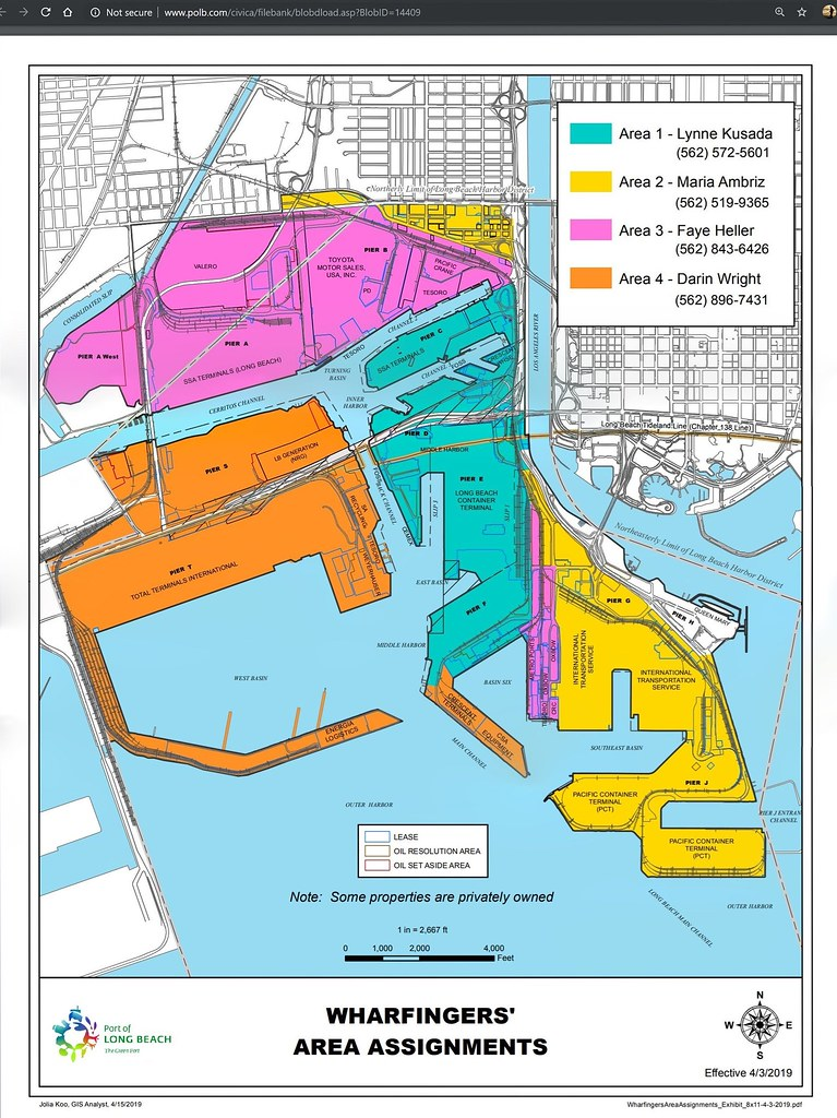 Port of Long Beach, California Wharfingers\' Area Assignments ...