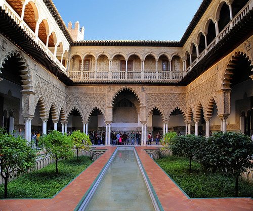 The beautiful Patio de las Doncellas at Royal Palace of Seville
