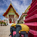 Elephant and Purple Chedi, Wat Ratchasittharam Ratchaworawihan