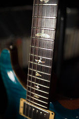 Bird-shaped details on the neck of the PRS custom blue matteo guitar