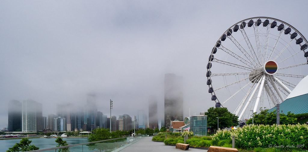Centennial Wheel, foggy Chicago