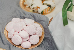 Plate  Of Pink Marshmallows On Picnic