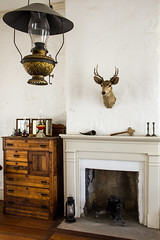 Old West Fireplace and Taxidermy Deer at Fort Concho