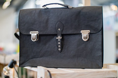 Black brief case made of wood leather