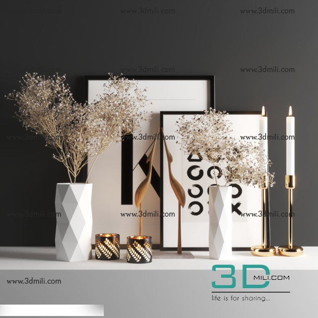 326  Decorative set 3dsmax File Free Download - 3D Mili - Download