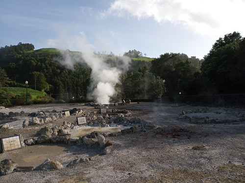 Hot-spring in the central village of Furnas, Sao Miguel Island, Azores Archipelago, Portugal