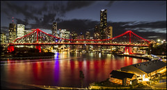 Story Bridge and Riverside Brisbane at dusk=