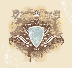 Vintage shield crown vector image