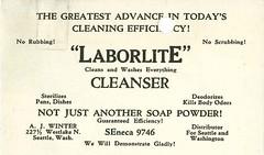 Laborlite Cleanser distributor business card, circa 1920