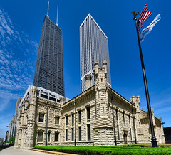 Image by NettyA (7272097@N08) and image name Chicago Water Tower photo  about Buildings on The Magnificent Mile - a famous street in Chicago. One of Chicago's oldest buildings, built in 1869: en.wikipedia.org/wiki/Chicago_Water_Tower It is made up of two buildings - another is across the road.
