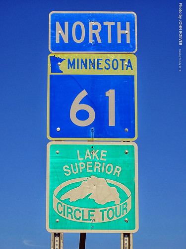 Signs for Hwy 61 and Superior Circle Tour, 16 July 2019