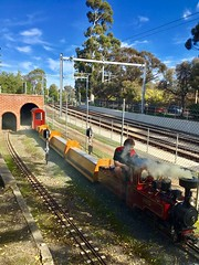 Adelaide. Millswood. Model railway circuit and tunnel.Adjacent to the Adelaide to Seaford railway.