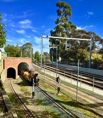 Adelaide to Seaford railway adjacent to Millswood model railway circuit with tunnel.