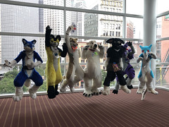 Fursuiters Jumping