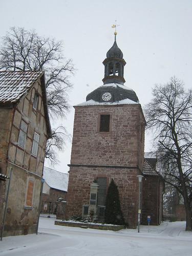 Sankt Wigbertii zu Ichstedt (Kyffh);  im Schneesturm