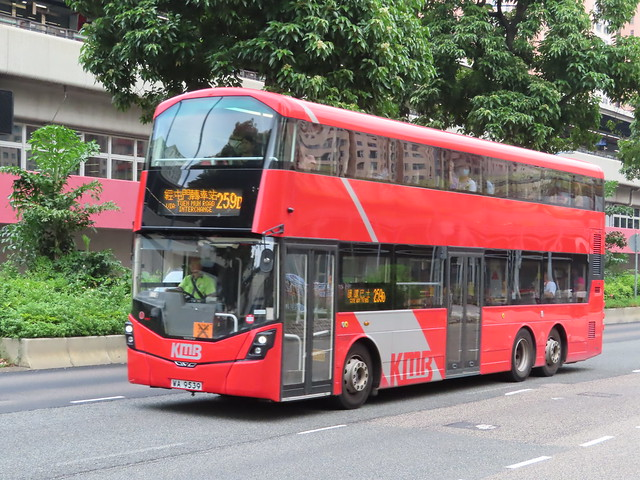 KMB WA 9539 (V6B7) on route 259D passes by Kowloon Bay Station .