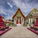 Pair of Purple Chedis, Wat Ratchasittharam Ratchaworawihan