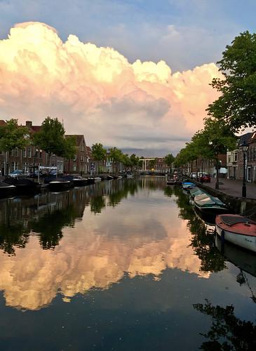 Reflection of clouds, Alkmaar. Oudegracht Alkmaar.