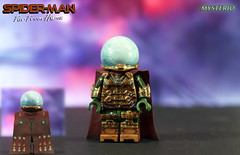 "Image by LegoMatic9 (52286648@N06) and image name Custom LEGO Spider-Man: Far From Home | Mysterio photo  about ""I created Mysterio to give the world someone to believe in. I control the truth...Mysterio IS the truth!""  I made this custom LEGO Mystery Minifigure for Andy/Delta Customs to go along with the Vulture I made for him last year.   This figure has sculpted torso armor, gauntlets, thigh armo"