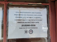 No photos sign, Topanga Ranch Motel, Malibu, California, USA