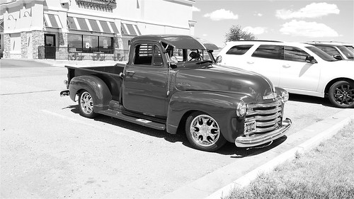 Red classic pickup truck black and white!