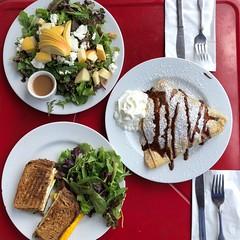 Apple Salad, Maple Egg Sandwich, and Dessert Crepe, Starving Artist Cafe, Lee, Mass.
