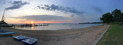 Western Long Island Sound Sunset Panoramic; Kings Point, New York