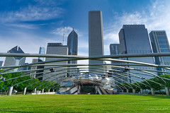Image by NettyA (7272097@N08) and image name Jay Pritzker Pavilion, Chicago photo  about Other sights in Millennium Park, Chicago. Designed by Frank Gehry.  Explore # 18  I process my photos with Skylum's Luminar and find it easy to use with great results. Here is a link if anyone is interested in trying it out: skylum.grsm.io/janetteasche8660