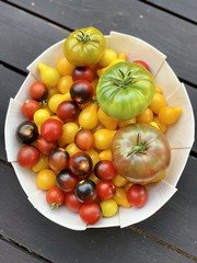 Image by valatal (vmolloy) and image name garden tomatoes #heirloomtomatoes #grewitmyself #summergarden / bowl by @abigailmurraystudio photo