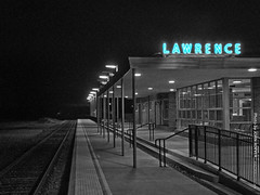 Image by photography.by.ROEVER (rock_chalk_jhawk_ku) and image name Lawrence Train Station (mix of color & b/w), 28 Dec 2018 photo  about Lawrence Train Station, served by Amtrak's Southwest Chief train. Mix of color and black & white (using Adobe Photoshop Elements). Lawrence, Kansas Friday evening 28 December 2018