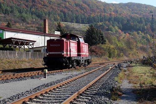 2018-10-20; 0088. Rennsteigbahn 213 334. Walldorf. Plandampf im Werratal, Dampffinale.