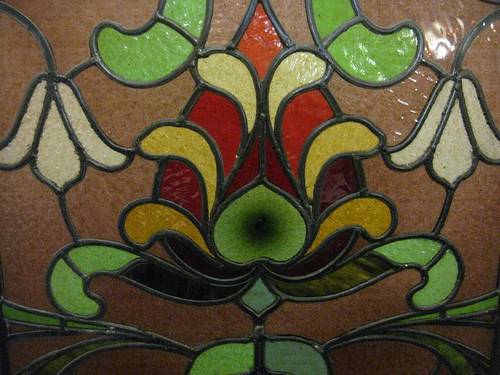 Detail of the Art Nouveau Stained Glass Window of the Billiards Room of
