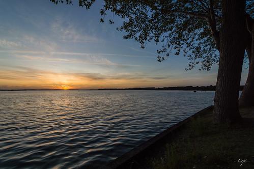 Sunset sur le lac de Parentis