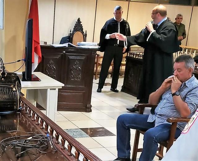 O fazendeiro Décio José Barroso Nunes durante o julgamento em Belém  - Créditos: Glória Lima | TJPA