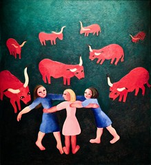 Girls and oxen (Undated) - Sarah Affonso(1899-1982)