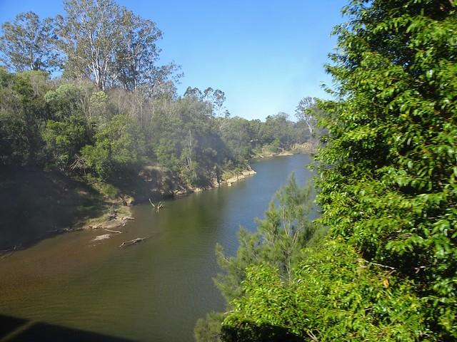 Photo:Gympie. A view of the Mary River from the Mary Valley Rattler steam train travelling between Gympie and Amamoor. Smoke from the engine is drifting across the river. By denisbin