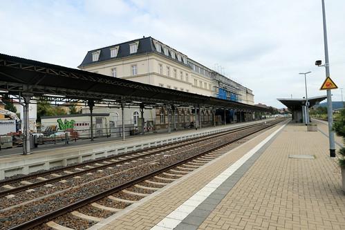 Empfangsgebäude Bahnhof Bautzen Gleisseite August 2019