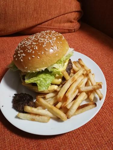 Aldi burger and fries