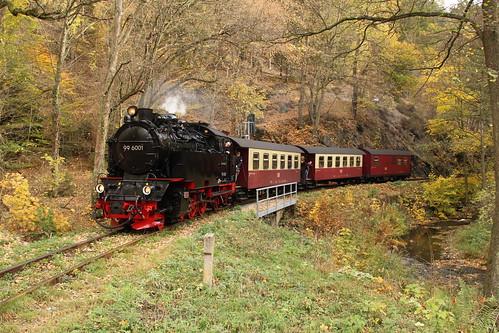 2018-10-21; 0020. HSB 99 6001 met trein 8963. Vlak voor Alexisbad.