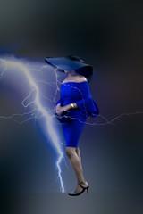 Mystery lady in blue dress